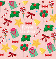 merry christmas card template with presents and vector image