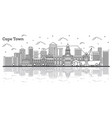 outline cape town south africa city skyline vector image