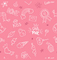 seamless pattern with hand drawn girly doodles vector image