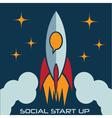 social start up flat design concept with rocket vector image vector image