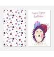 Stylish happy birthday card in cute style with vector image vector image