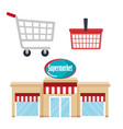 supermarket building with basket and cart shopping vector image