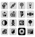 Sweets Black White Icons Set vector image vector image