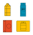 tetra pack icon set color outline style vector image vector image