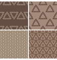 Triangular coffee seamless patterns set vector image