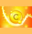 vitamin c gold shining pill capsule icon vitamin vector image