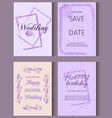 wedding invitation card suite with crocus flower vector image