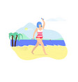 young woman exercising with dumbbells on beach vector image