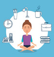 young woman practicing yoga with set icons vector image vector image
