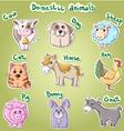 Set of cartoon domestic animals vector image
