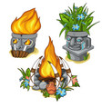 ancient idols like a vase with fire and flowers vector image vector image