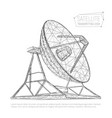 black abstract polygonal satellite dish for space vector image