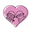 boy and girl with glasses inside heart design vector image vector image