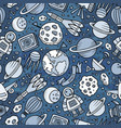 cartoon hand-drawn space planets seamless pattern vector image