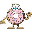 cartoon happy donut waving vector image vector image