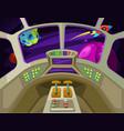 cartoon spaceship cabin interior with windows into vector image