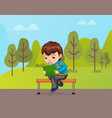 character using tablet sitting on bench vector image vector image