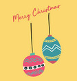 christmas card cute festive vintage ball flat vector image vector image