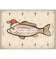 Christmas fish in Santa red hatVintage drawing