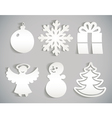Christmas icon cut from paper Isolated on gray vector image vector image