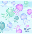 colored jellyfish cartoon waves vector image