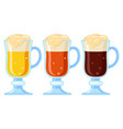 colorful cartoon different beer types in fancy vector image