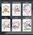 cute animals jump - set animals for your idea vector image vector image