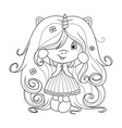 cute baby unicorn with super long hair with vector image vector image