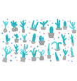 cute cactus compositon doodle style set vector image