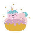 cute card with funny unicorn cat on white vector image