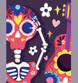 day dead skeleton and guitar flowers vector image vector image