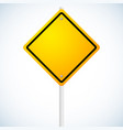 empty orange road sign on pole vector image vector image