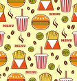 Fast food pattern with drinks burgers and fries vector image