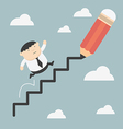 Fat business climbs the ladder of success vector image
