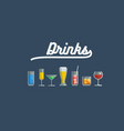 glass various drinks and cocktails vector image