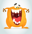 Happy cartoon orange monster vector image
