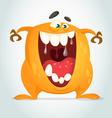 Happy cartoon orange monster vector image vector image