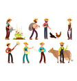 happy farmers with agricultural tools and planting vector image