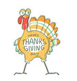 happy thanksgiving day turkey bird for happy vector image