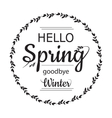 Hello Spring goodbye winter card design with vector image