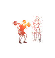 home gym barbell exercise man sport concept vector image