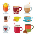 hot drinks warm mugs tea coffee cocoa mulled wine vector image vector image