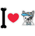 I love French bulldog hipster with a hat vector image