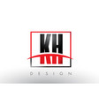 kh k h logo letters with red and black colors vector image vector image