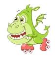 Little dragon on skates vector image vector image