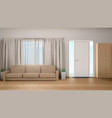 living room interior with couch and wardrobe vector image