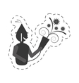 man with party horn icon vector image