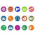 Multimedia round button icons set