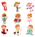 of little girl wearing various vector image