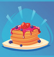 pancakes baking with syrup vector image